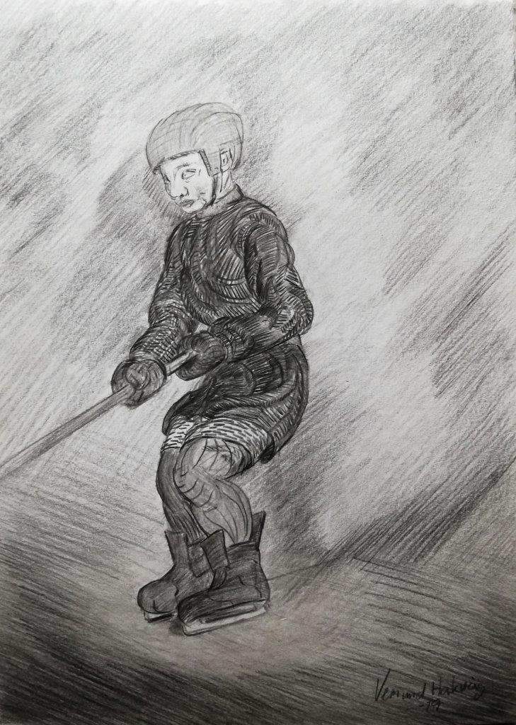 Hockey player, sketching from the imagination