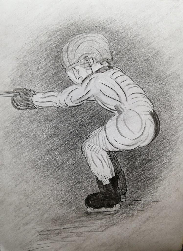 Speed skating, drawing, imagination, 2019