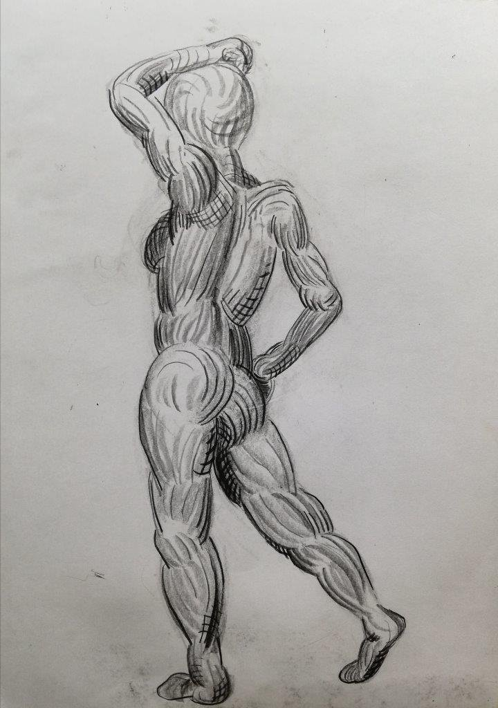 Standing nude, from behind, drawing from imagination.